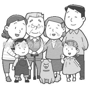 大家族(親子三代)のイラスト(白黒版)