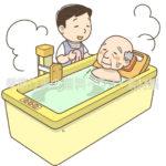 機械浴での入浴介助のイラスト(カラー版)