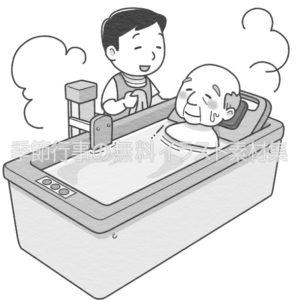 機械浴での入浴介助のイラスト(白黒版)