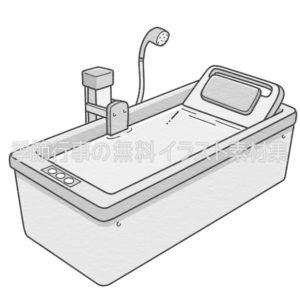 機械浴槽のイラスト(白黒版)