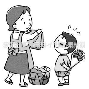 母の日にカーネーションを渡すイラスト(白黒版)