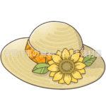 ひまわりのついた麦わら帽子のイラスト(カラー版)