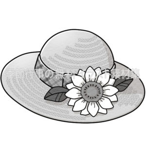 ひまわりのついた麦わら帽子のイラスト(白黒版)