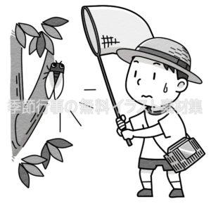 虫取りをする子供のイラスト(白黒版)