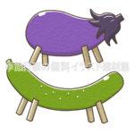 お盆に飾られるナスとキュウリのイラスト(カラー版)
