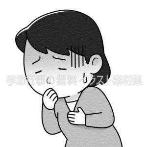 吐き気をもよおし手で口を押さえている女性のイラスト(白黒版)