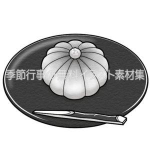 練りきりの和菓子のイラスト(白黒版)