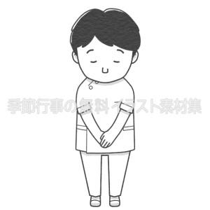 お辞儀をする男性看護師のイラスト(白黒版)