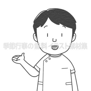紹介をする男性看護師のイラスト(白黒版)