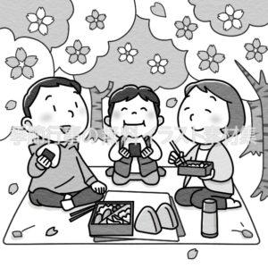親子でお花見をしているイラスト(白黒版)