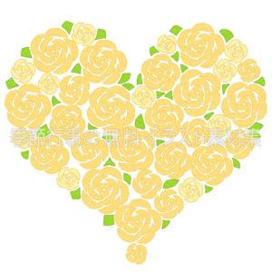 黄色いバラのハートのイラスト