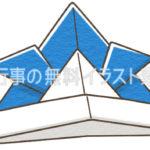 カブト(兜)折り紙のイラスト(カラー版)