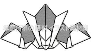 かっこいいカブト(兜)折り紙のイラスト(白黒版)