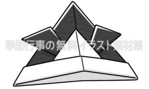 カブト(兜)折り紙のイラスト(白黒版)