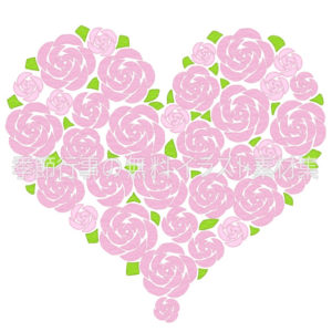 ピンクのバラのハートのイラスト