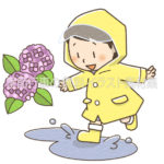 雨合羽を着た子供のイラスト(カラー版)