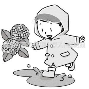 雨合羽を着た子供のイラスト(白黒版)