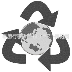 リサイクルのイメージ(地球)のマーク(白黒版)