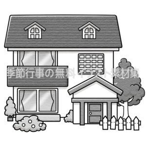 家のイラスト(白黒版)