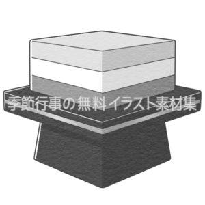 菱餅(ひし餅)のイラスト(白黒版)