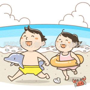 海に遊びに来た子供のイラスト