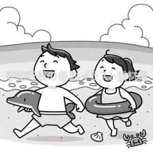 海に遊びに来た子供のイラスト(白黒版)