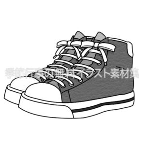 スニーカーのイラスト(白黒版)