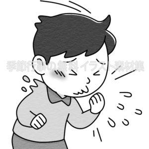 クシャミをする人のイラスト(白黒版)