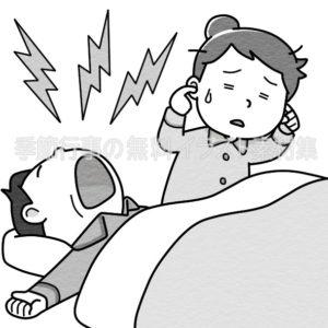 いびきをかいている男性のイラスト(白黒版)