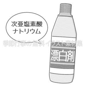 次亜塩素酸ナトリウム(漂白剤)のイラスト(白黒版)