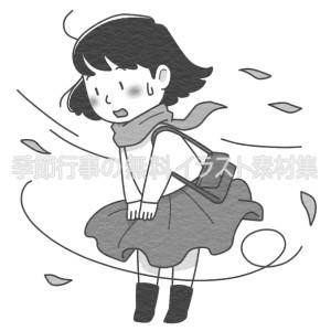 強い風にスカートを抑える女性のイラスト(白黒版)