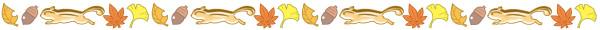 落ち葉とリスのライン素材(カラー版)