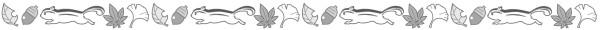 落ち葉とリスのライン素材(白黒版)