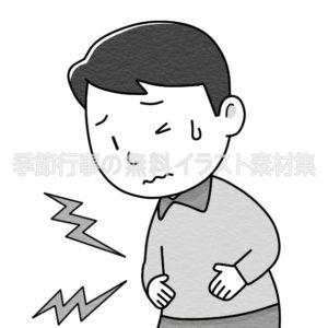 腹痛でおなかをおさえている人のイラスト(白黒版)