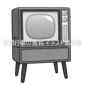 昭和のブラウン管テレビのイラスト(白黒版)