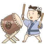 太鼓を叩いている男の子のイラスト(カラー版)