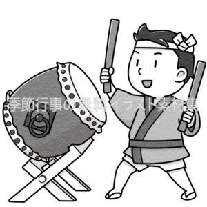 太鼓を叩いている男の子のイラスト(白黒版)