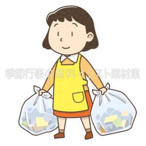ゴミ出しをするエプロンをした女性のイラスト(カラー版)