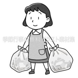 ゴミ出しをするエプロンをした女性のイラスト(白黒版)