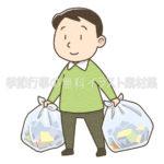ゴミを出す男性のイラスト(カラー版)