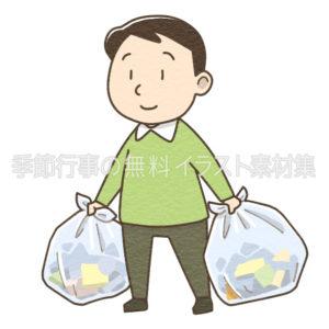 ゴミ出しをする男性のイラスト
