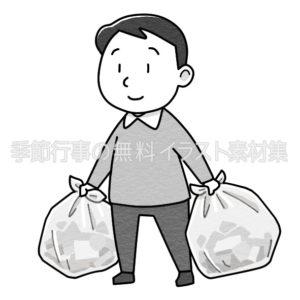 ゴミを出す男性のイラスト(白黒版)