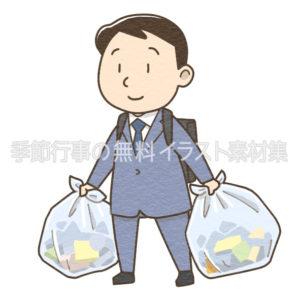 ゴミを出すスーツを着た男性のイラスト(カラー版)