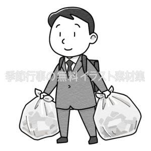 ゴミを出すスーツを着た男性のイラスト(白黒版)