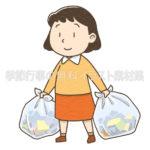 ゴミ出しをする女性のイラスト(カラー版)