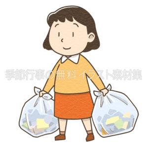 ゴミ出しをする女性のイラスト