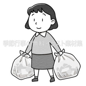 ゴミ出しをする女性のイラスト(白黒版)