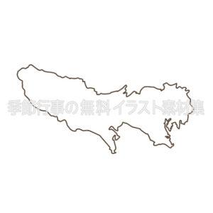 東京都の地図のイラスト(線画版)