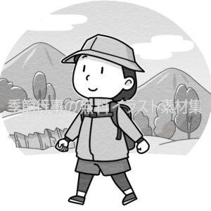 山登りのイラスト(白黒版)