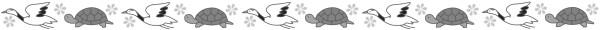 鶴と亀のライン素材(白黒版)